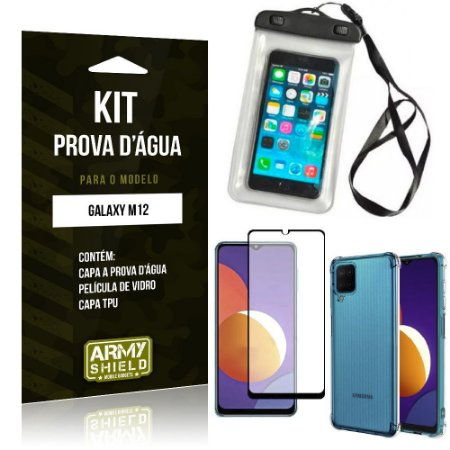 Kit Galaxy M12 Capinha Prova D'água + Capa Anti Impacto + Película 3D - Armyshield