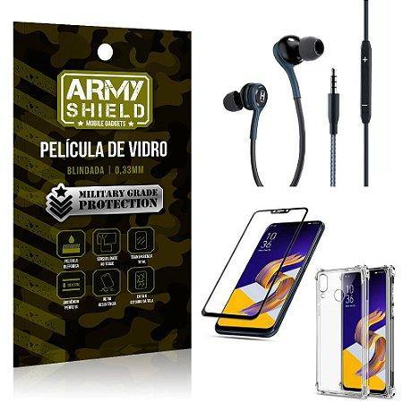 Kit Zenfone 5Z ZS620KL Fone Extreme + Capa Anti Impacto + Película 3D - Armyshield