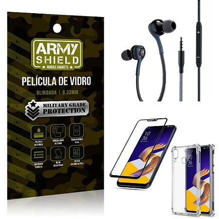 Kit Zenfone 5 ZE620KL Fone Extreme + Capa Anti Impacto + Película 3D - Armyshield