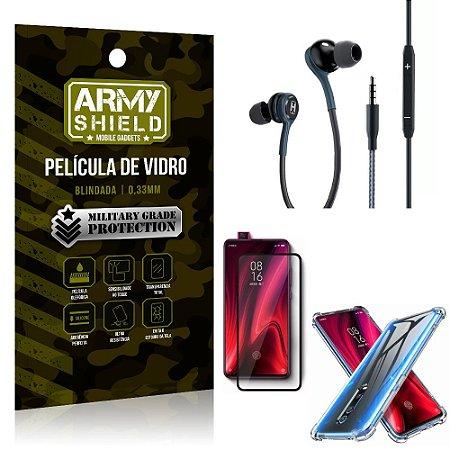 Kit Redmi K20 Mi 9T Fone Extreme + Capa Anti Impacto + Película 3D - Armyshield
