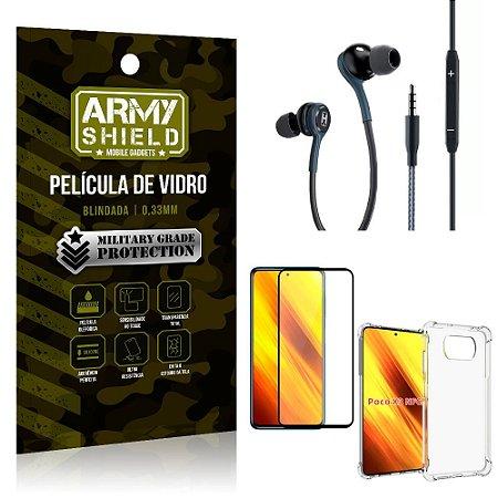 Kit Poco X3 Fone Extreme + Capa Anti Impacto + Película 3D - Armyshield
