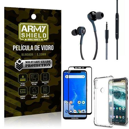 Kit Moto One Fone Extreme + Capa Anti Impacto + Película 3D - Armyshield