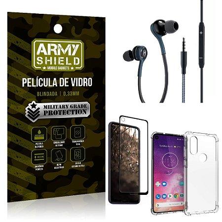 Kit Moto One Vision Fone Extreme + Capa Anti Impacto + Película 3D - Armyshield