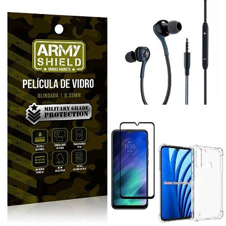 Kit Moto One Fusion Fone Extreme + Capa Anti Impacto + Película 3D - Armyshield