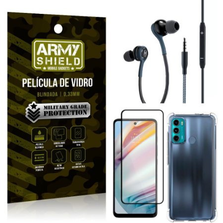 Kit Moto G60 Fone Extreme + Capa Anti Impacto + Película 3D - Armyshield