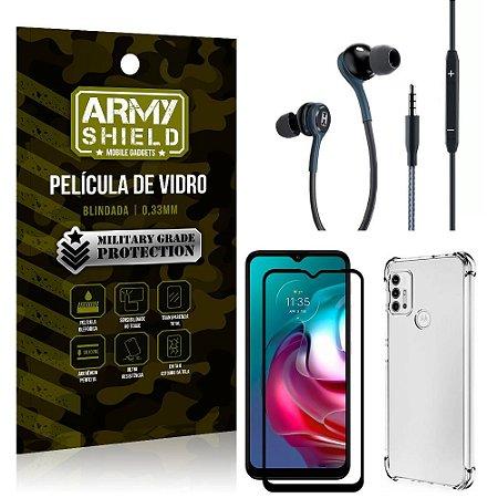 Kit Moto G30 Fone Extreme + Capa Anti Impacto + Película 3D - Armyshield