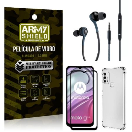 Kit Moto G20 Fone Extreme + Capa Anti Impacto + Película 3D - Armyshield