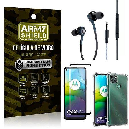 Kit Moto G9 Power Fone Extreme + Capa Anti Impacto + Película 3D - Armyshield