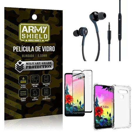 Kit LG K50s Fone Extreme + Capa Anti Impacto + Película 3D - Armyshield