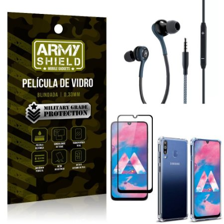 Kit Galaxy M30 Fone Extreme + Capa Anti Impacto + Película 3D - Armyshield