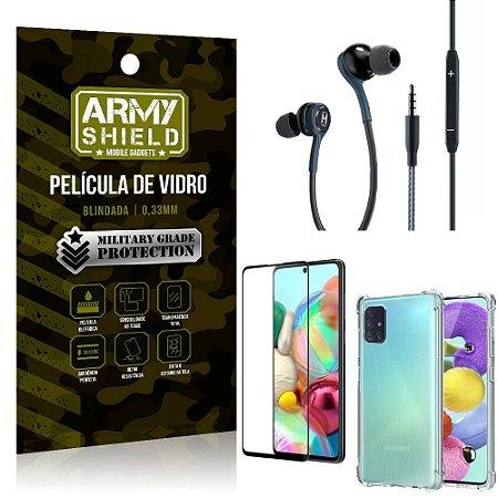 Kit Galaxy A71 Fone Extreme + Capa Anti Impacto + Película 3D - Armyshield