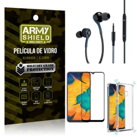 Kit Galaxy A20 Fone Extreme + Capa Anti Impacto + Película 3D - Armyshield