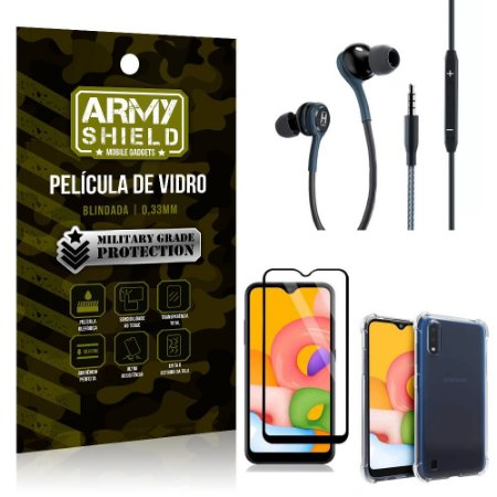 Kit Galaxy A01 Fone Extreme + Capa Anti Impacto + Película 3D - Armyshield