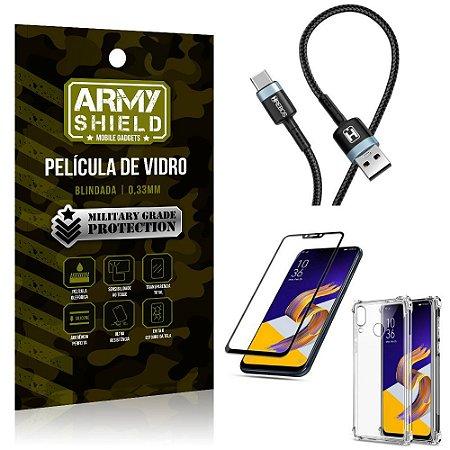 Cabo Usb Tipo C HS-302 Zenfone 5Z ZS620KL + Capinha + Película 3D - Armyshield