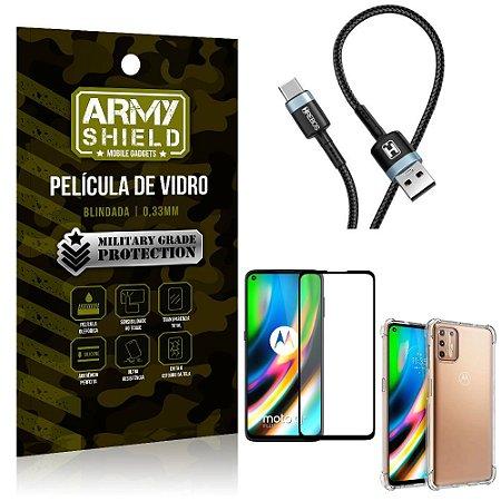 Cabo Usb Tipo C HS-302 Moto G9 Plus + Capinha + Película 3D - Armyshield