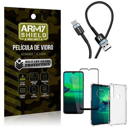 Cabo Usb Tipo C HS-302 Moto G8 Plus + Capinha + Película 3D - Armyshield