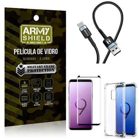 Cabo Usb Tipo C HS-302 Samsung S9 + Capinha + Película 3D - Armyshield