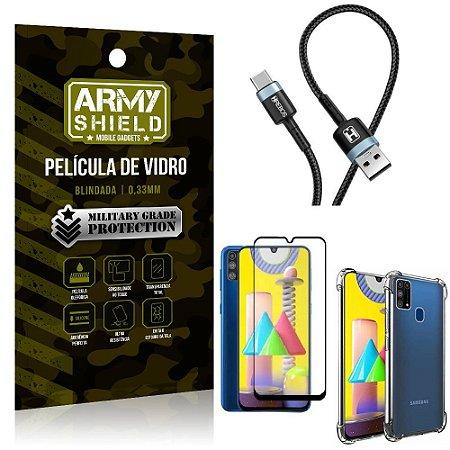 Cabo Usb Tipo C HS-302 Samsung M31 + Capinha + Película 3D - Armyshield