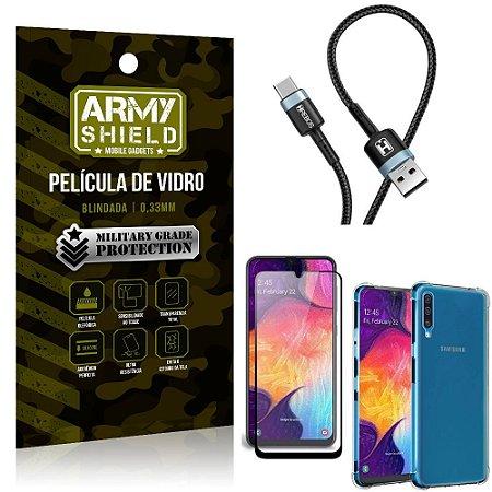 Cabo Usb Tipo C HS-302 Samsung A50 + Capinha + Película 3D - Armyshield