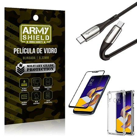 Cabo Usb Tipo C para Usb-C HS-167 Zenfone 5Z ZS620KL + Capinha + Película 3D - Armyshield