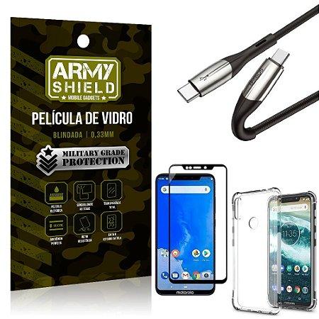 Cabo Usb Tipo C para Usb-C HS-167 Moto One + Capinha + Película 3D - Armyshield