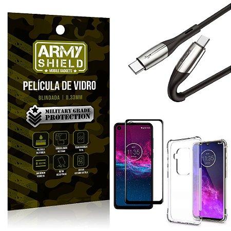 Cabo Usb Tipo C para Usb-C HS-167 Moto One Zoom + Capinha + Película 3D - Armyshield