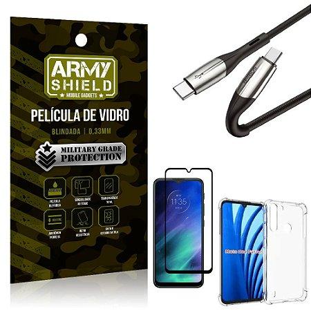 Cabo Usb Tipo C para Usb-C HS-167 Moto One Fusion + Capinha + Película 3D - Armyshield