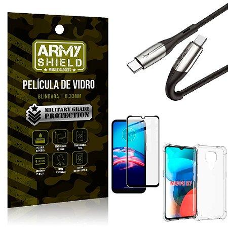Cabo Usb Tipo C para Usb-C HS-167 Moto E7 + Capinha + Película 3D - Armyshield