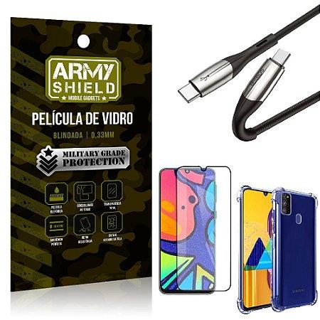Cabo Usb Tipo C para Usb-C HS-167 Samsung M21s + Capinha + Película 3D - Armyshield