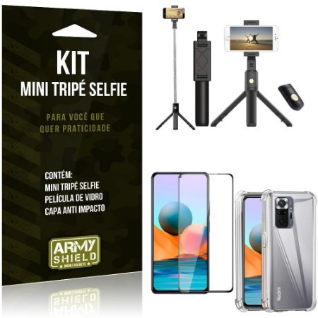Kit Redmi Note 10 Pro Mini Tripé Selfie Bluetooth para + Capa Anti Impacto + Película 3D -Armyshield