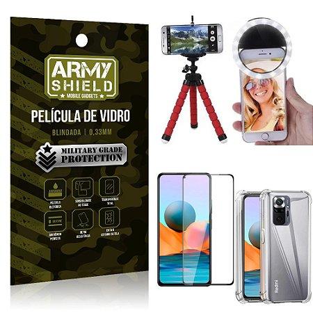 Kit Redmi Note 10 Pro Tripé Flex + Flash Ring + Capa Anti Impacto + Película 3D - Armyshield