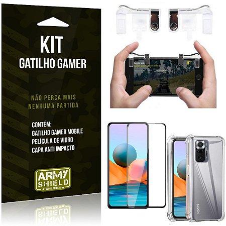 Kit Redmi Note 10 Pro Gatilho Gamer + Capa Anti Impacto + Película Vidro 3D - Armyshield