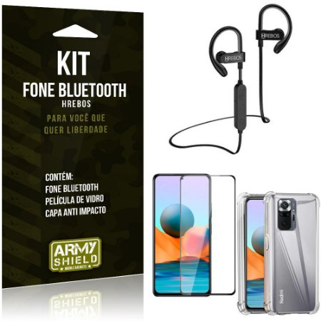 Kit Redmi Note 10 Pro Fone Bluetooth HS188 + Película 3D + Capa Anti Impacto - Armyshield
