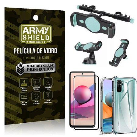 Kit Redmi Note 10S Suporte Veicular 3 em 1 + Película 3D + Capa Anti Impacto - Armyshield