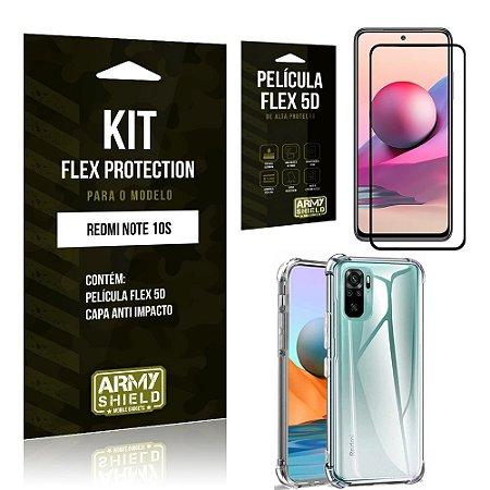 Kit Redmi Note 10S Flex Protection com Película Flex + Capa Anti Impacto - Armyshield