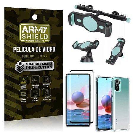 Kit Redmi Note 10 Suporte Veicular 3 em 1 + Película 3D + Capa Anti Impacto - Armyshield