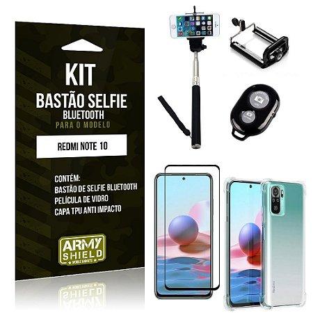 Kit Redmi Note 10 Bastão de Selfie Bluetooth + Capinha Anti Impacto + Película Vidro 3D - Armyshield