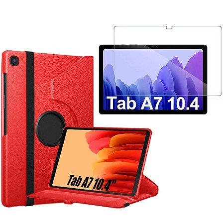 Capa Giratória Vermelha + Película de Vidro Tab A7 10.4 T500 T505 - Armyshield