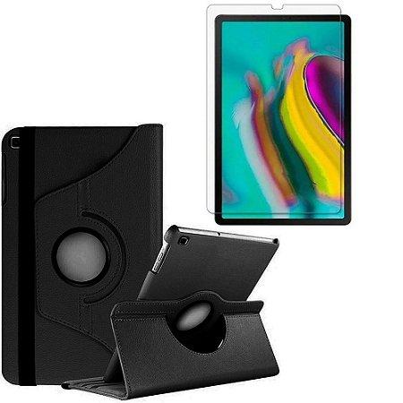 Capa Giratória Preta + Película de Vidro Blindada Samsung Galaxy Tab S5e 10.5 T725 Armyshield
