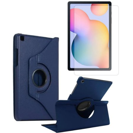 Kit Capa Giratória Azul Marinho + Película de Vidro Galaxy Tab S6 Lite 10.4' P610 P615 - Armyshield