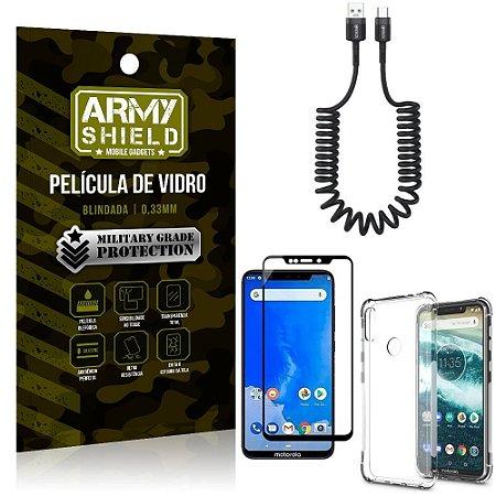 Cabo Espiral Moto One + Capinha Anti Impacto + Película 3D - Armyshield