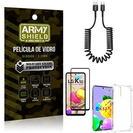 Cabo Espiral LG K52 + Capinha Anti Impacto + Película 3D - Armyshield