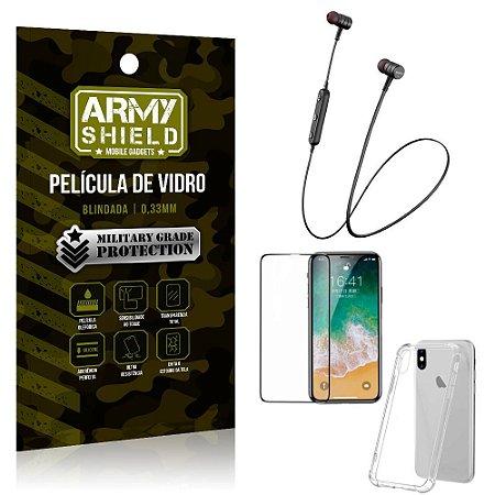 Fone Bluetooth HS-615 iPhone X + Capinha Anti Impacto + Película 3D - Armyshield