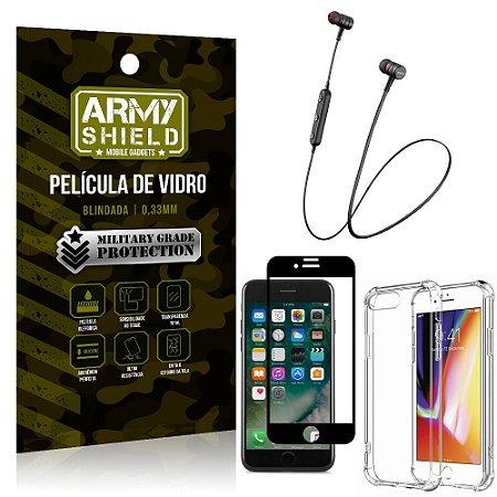 Fone Bluetooth HS-615 iPhone 7 Plus + Capinha Anti Impacto + Película 3D - Armyshield
