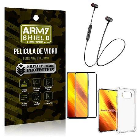 Fone Bluetooth HS-615 Poco X3 + Capinha Anti Impacto + Película 3D - Armyshield