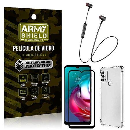Fone Bluetooth HS-615 Moto G30 + Capinha Anti Impacto + Película 3D - Armyshield