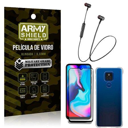 Fone Bluetooth HS-615 Moto E7 Plus + Capinha Anti Impacto + Película 3D - Armyshield