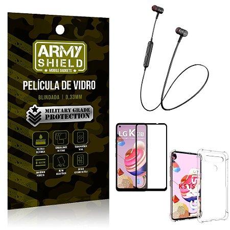 Fone Bluetooth HS-615 LG K51s + Capinha Anti Impacto + Película 3D - Armyshield