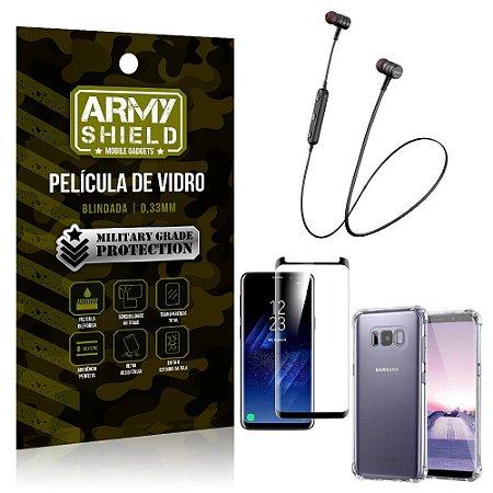 Fone Bluetooth HS-615 Samsung S8 + Capinha Anti Impacto + Película 3D - Armyshield