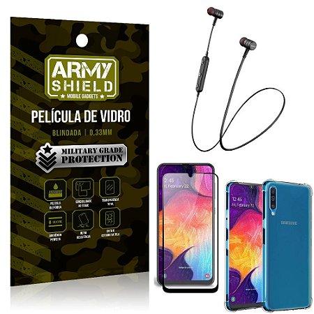 Fone Bluetooth HS-615 Samsung A50 + Capinha Anti Impacto + Película 3D - Armyshield